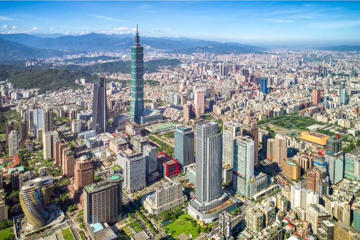 The capital Taipei, home to 2.6 million people and the iconic Taipei 101 skyscraper