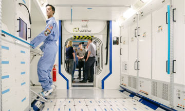 At Airbus Defence and Space, visitors can explore the Columbus module during a guided space tour