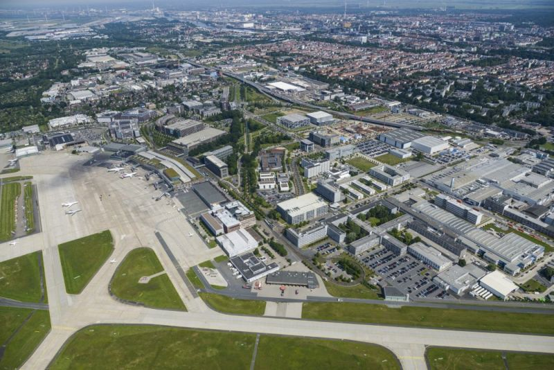 Aerial photograph of the Airport-Stadt Bremen