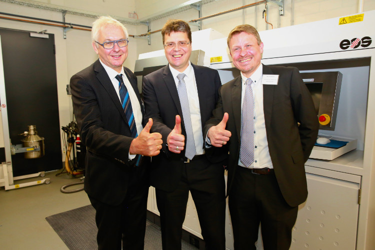 From left: Wilfried Vancraen, CEO of Materialise, Marcus Joppe, managing director of Materialise GmbH, and technical manager Ingo Uckelmann are all excited about the opening of the new metal printing plant