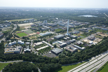 An aerial view of the Technology Park and the University of Bremen