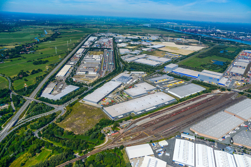 The Cargo Distribution Center (GVZ) in Bremen is close to road and rail links