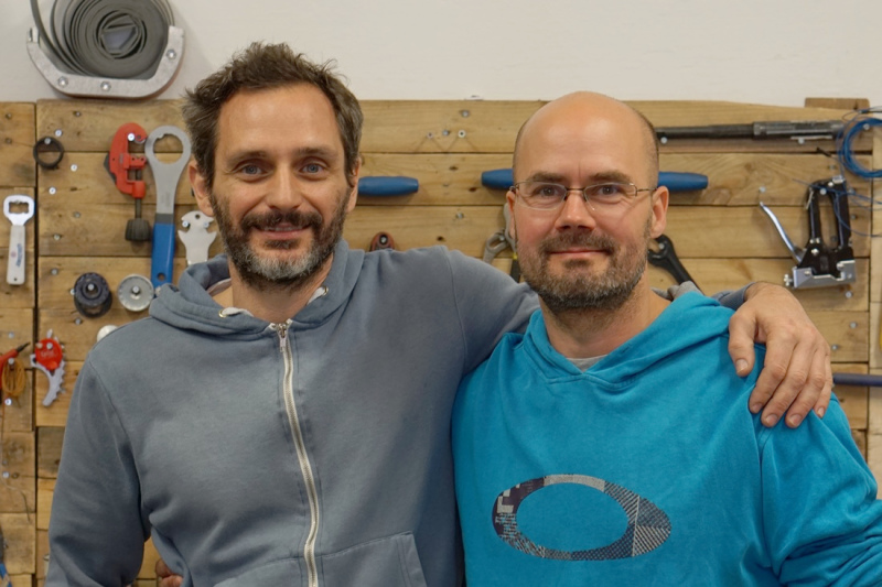 Stathis Stasinopoulos and Jap Kellner in the workshop