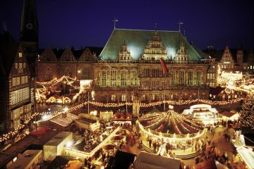 View to Christmas market from Bremen's town hall