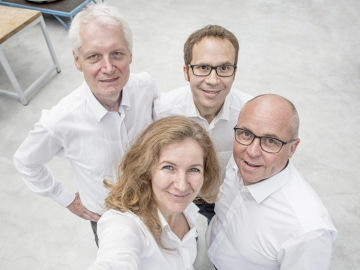 The local IAC 2018 organising committee at ZARM are pictured here (from left to right): Claus Lämmerzahl, Marc Avila, Birgit Kinkeldey and Peter von Kampen