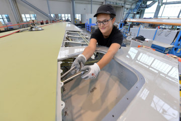 Wing assembly at the Airbus plant