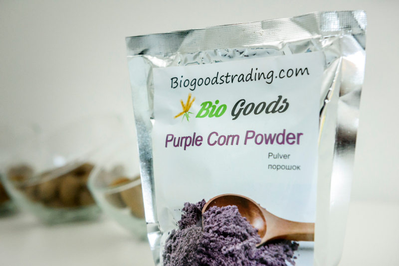 Packed purple corn powder